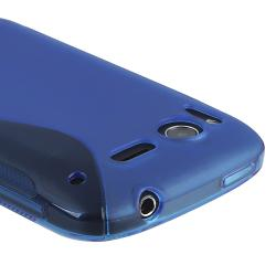 Frost Blue S Shape TPU Rubber Skin Case for HTC Desire S - Thumbnail 2