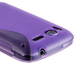 Frost Purple S Shape TPU Rubber Skin Case for HTC Desire S - Thumbnail 2
