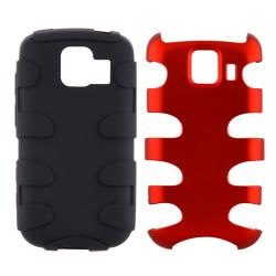 Red/ Black Fishbone Snap-on Case for LG Optimus LS670 - Thumbnail 0