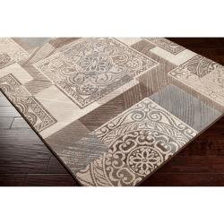 Meticulously Woven Gray Contemporary Mega Medallion Patchwork Rug (6'7 x 9'4) - Thumbnail 1