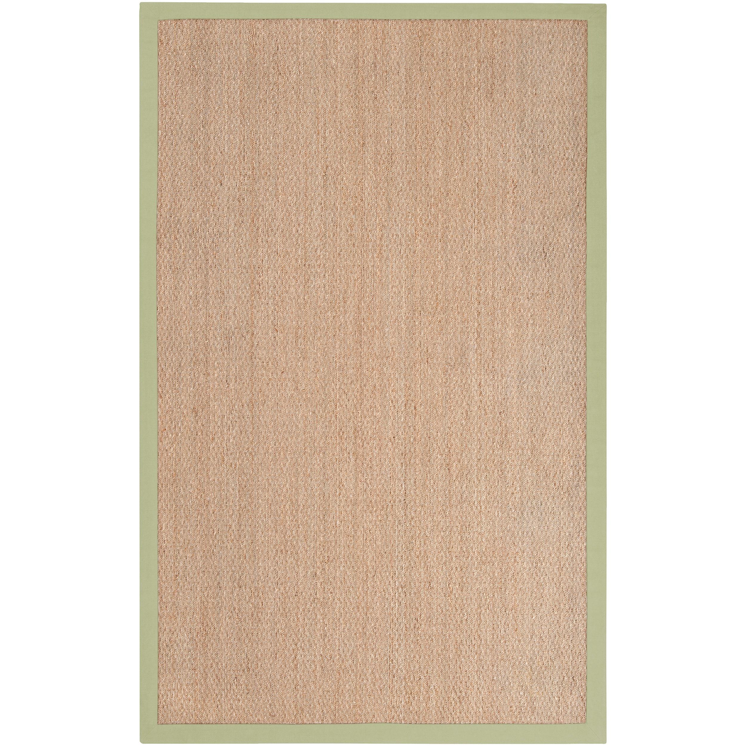 Hand-woven Green Pursuit Natural Fiber Seagrass Cotton Border Rug (9' x 13')