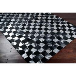 Hand-crafted Black Leather Animal Hide Geometric Squares Burr Rug (5' x 8') - Thumbnail 1