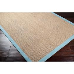 Hand-woven Blue Skilled Natural Fiber Seagrass Cotton Border Rug (9' x 13')
