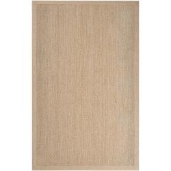 Hand-woven Tan Proficient Natural Fiber Seagrass Cotton Border Area Rug (5' x 8') - Thumbnail 0