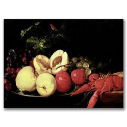 """Jan Davidsz de Heem 'Still Life of Fruit with a Lobster' 16"""" x 24"""" Canvas Art"""
