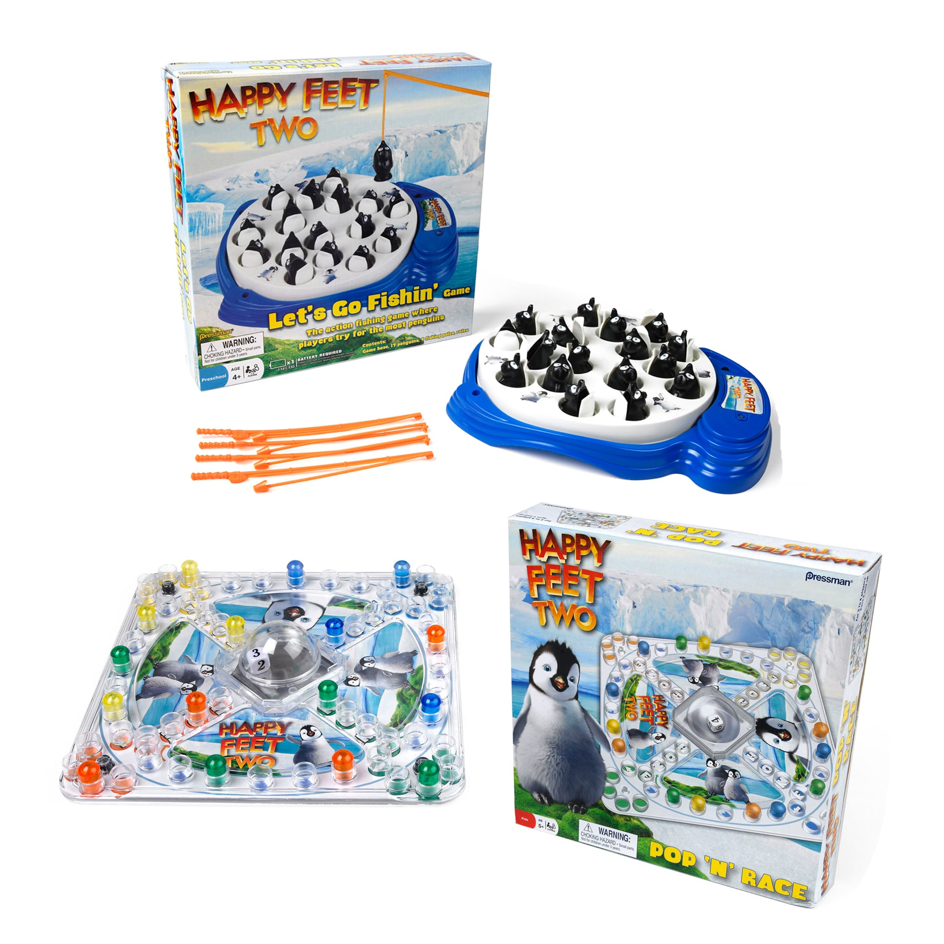 Pressman Games Happy Feet Two Fish and Pop n Race Game Set