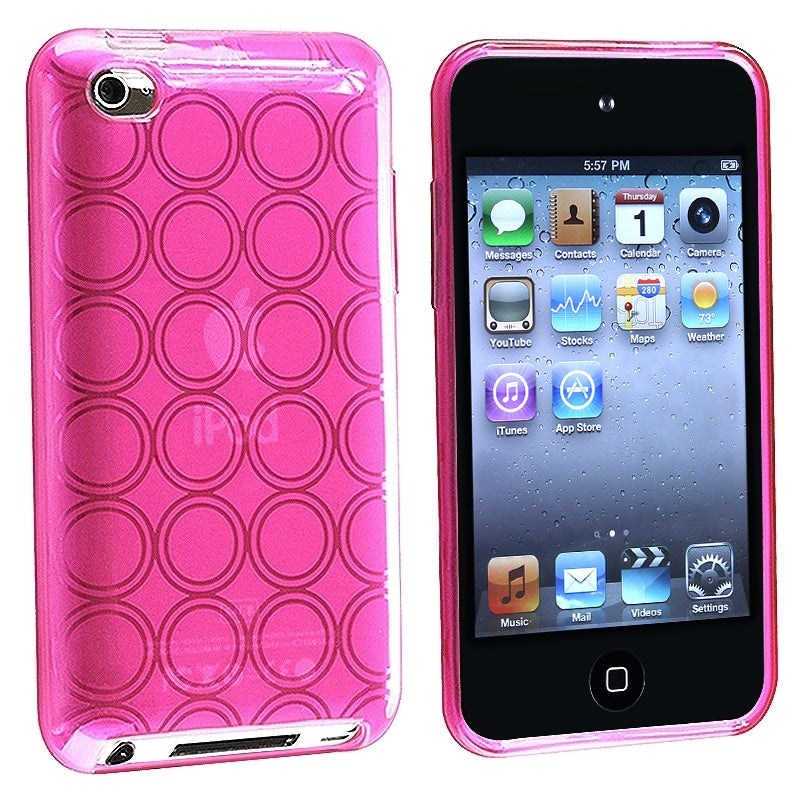 BasAcc Clear Hot Pink Circle TPU Rubber Case for Apple iPod Touch