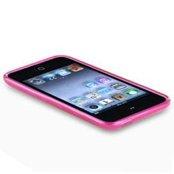 BasAcc Clear Hot Pink Circle TPU Rubber Case for Apple iPod Touch - Thumbnail 2
