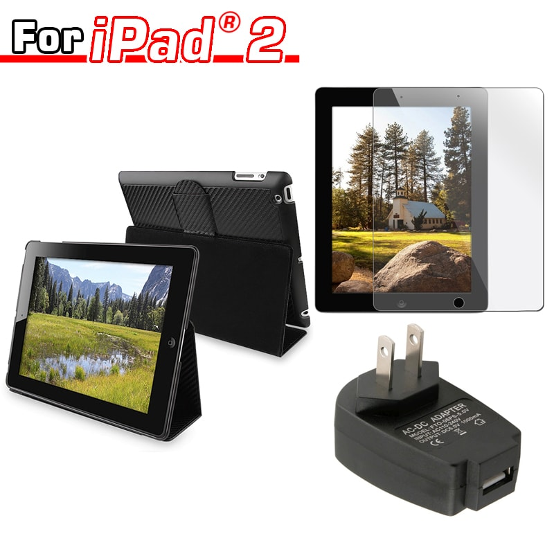 BasAcc Leather Case/ Travel Charger/ Screen Protector for Apple iPad 2