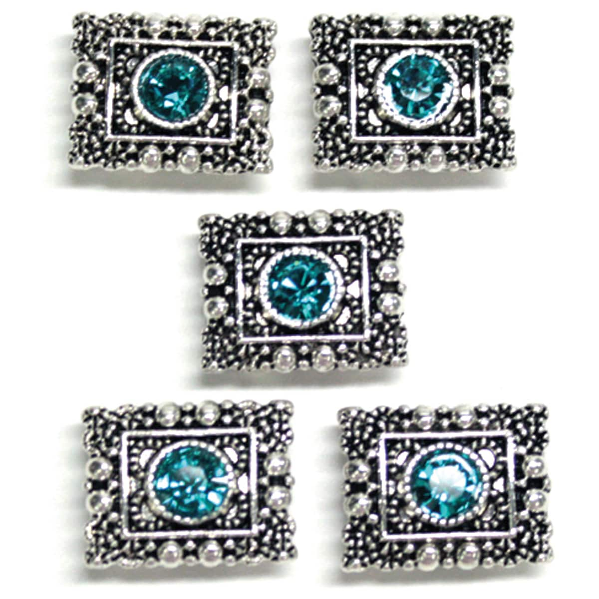 Jolee's Jewels Antique Silver/Turquoise  Elements Sliders (Set of 5)