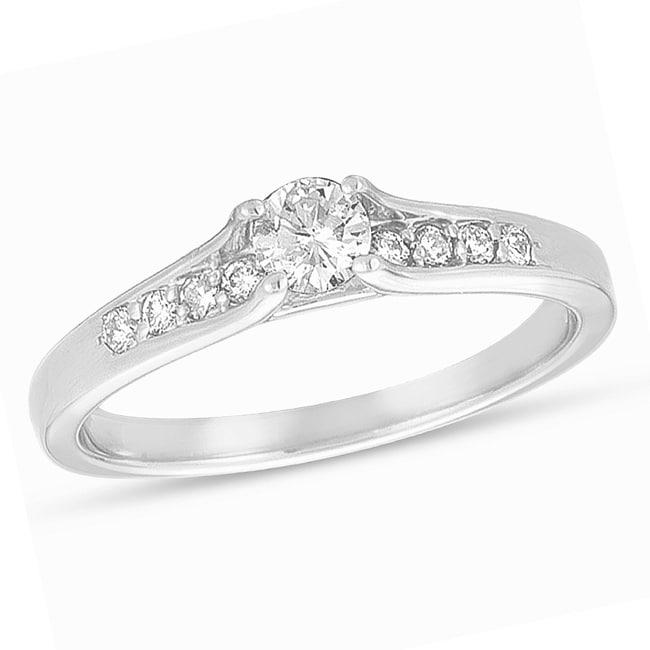 14k White Gold 3/8ct TDW Diamond Engagement Ring (H-I, I1-I2)