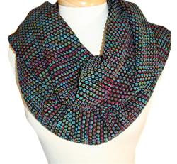 Textured Bubble Knit Infinity Scarf - Thumbnail 1
