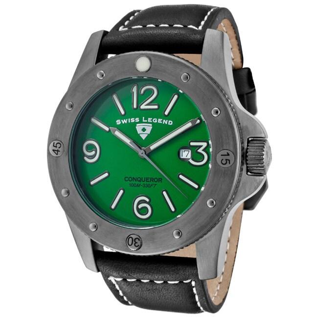 Swiss Legend Men's 'Conqueror' Black Leather Watch