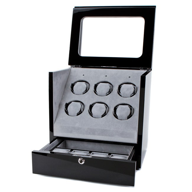 Collectors Multi-Function Black MDF, Acrylic, and Velvet Watch Winder - Thumbnail 0