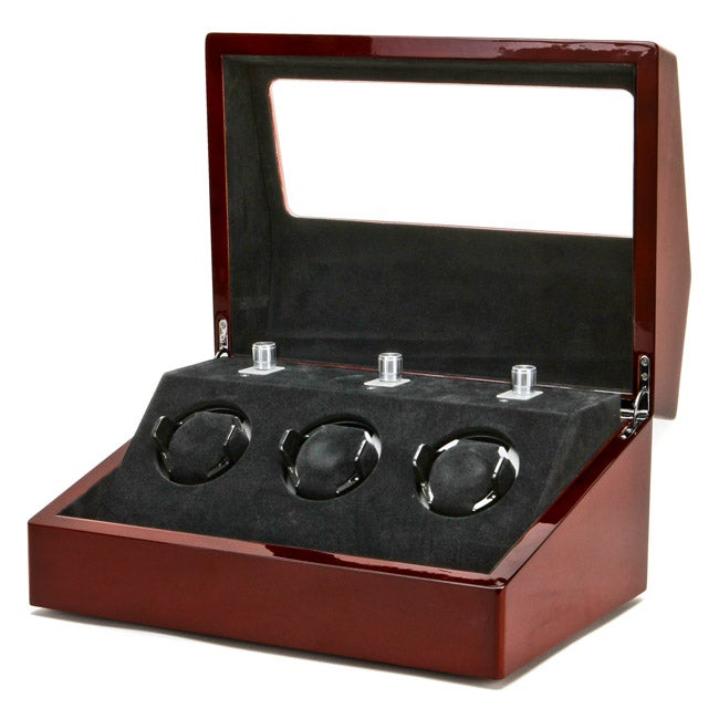 Collectors Multifunction Mahogany Three-slot Mechanical Watch Winder - Thumbnail 0