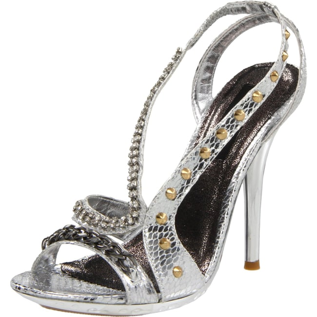 Celeste Women's 'Tao-03' Silver Stiletto Sandals
