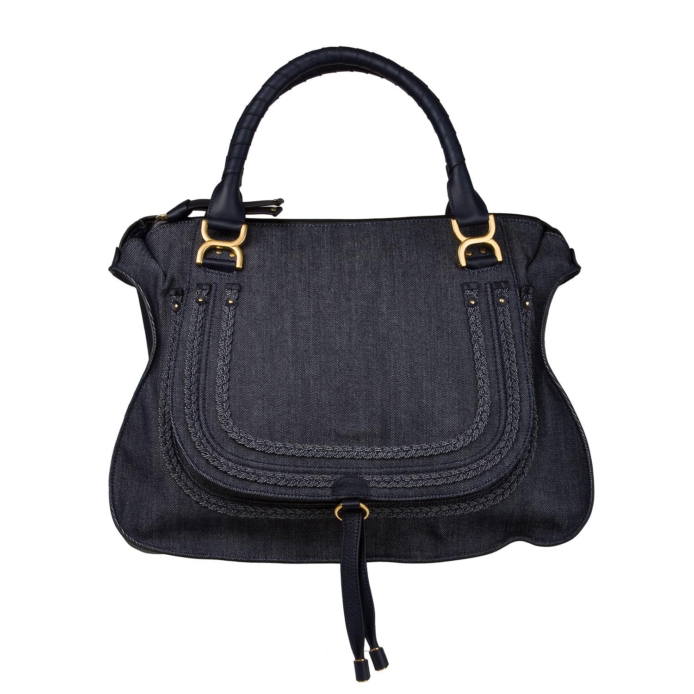 Chloe 'Marcie' Large Denim Satchel Bag with Leather Trim