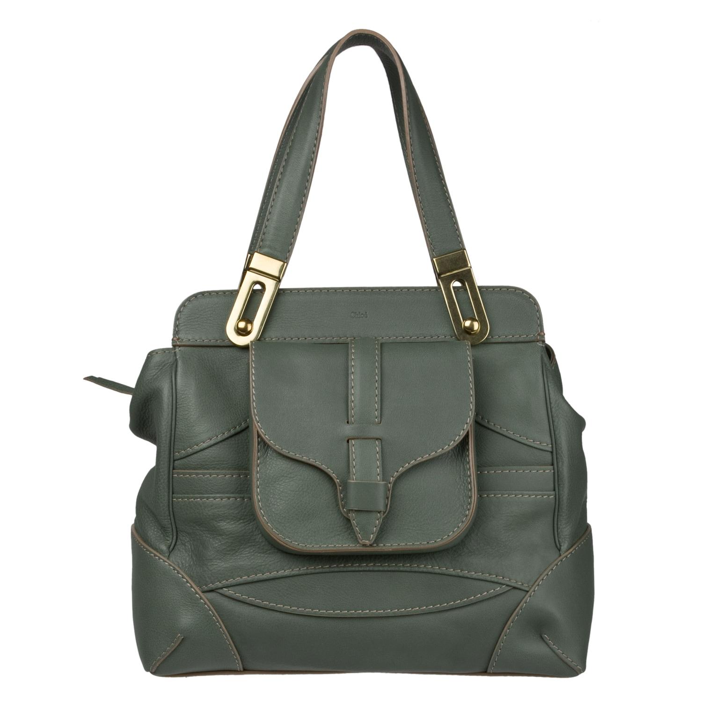 Chloe 'Mary' Green Leather Satchel Bag