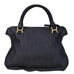 Chloe 'Marcie' Large Denim Satchel Bag with Leather Trim - Thumbnail 2