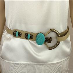 Nude Leather Belt with Turquoise and Hammered Antique Gold Buckle