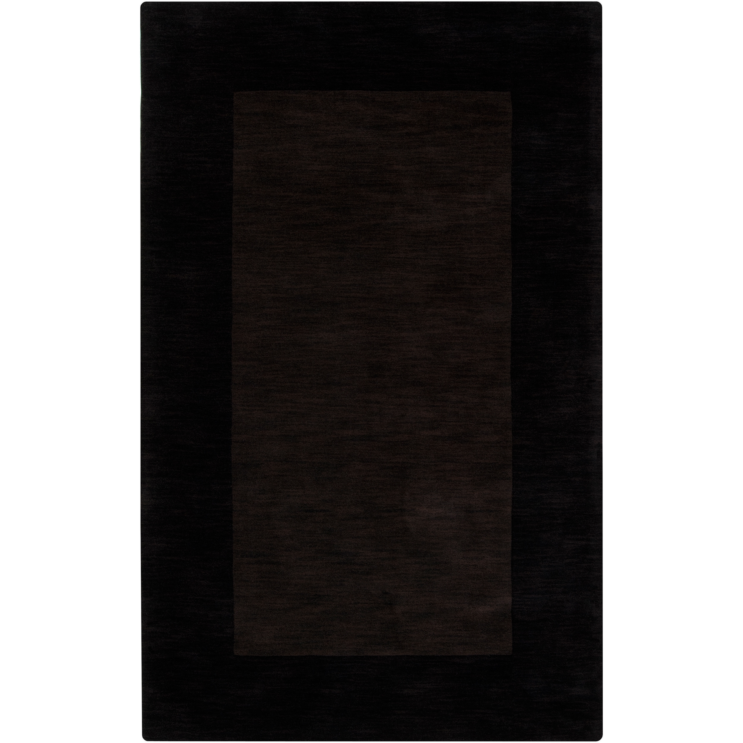 Hand-crafted Dark Brown Tone-On-Tone Bordered Inster Wool Rug (5' x 8')