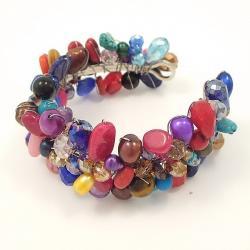 Vibrant Glow Multicolor Gemstone Handmade Cuff (Thailand) - Thumbnail 1