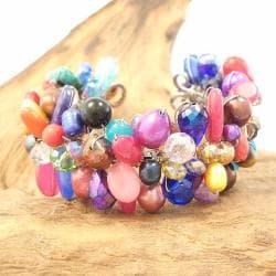 Vibrant Glow Multicolor Gemstone Handmade Cuff (Thailand) - Thumbnail 2