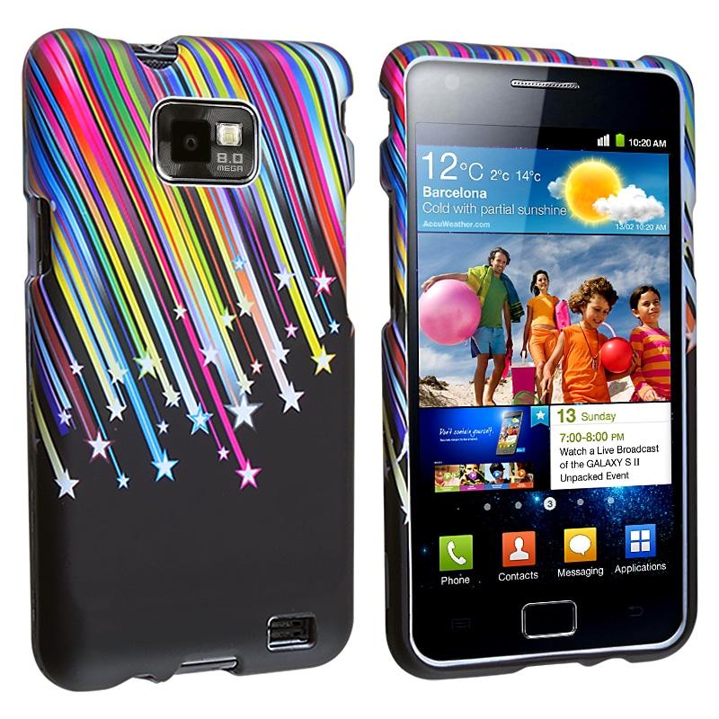 Black/ Rainbow Star Snap-on Rubber Case for Samsung Galaxy S II i9100