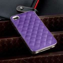 Purple Leather with Silver Side Snap-on Case for Apple iPhone 4/ 4S - Thumbnail 1