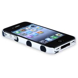 White/ Black Dot Snap-on Rubber Coated Case for Apple iPhone 4/ 4S - Thumbnail 1