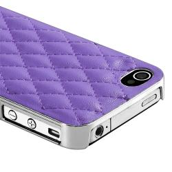 Purple Leather with Silver Side Snap-on Case for Apple iPhone 4/ 4S - Thumbnail 2
