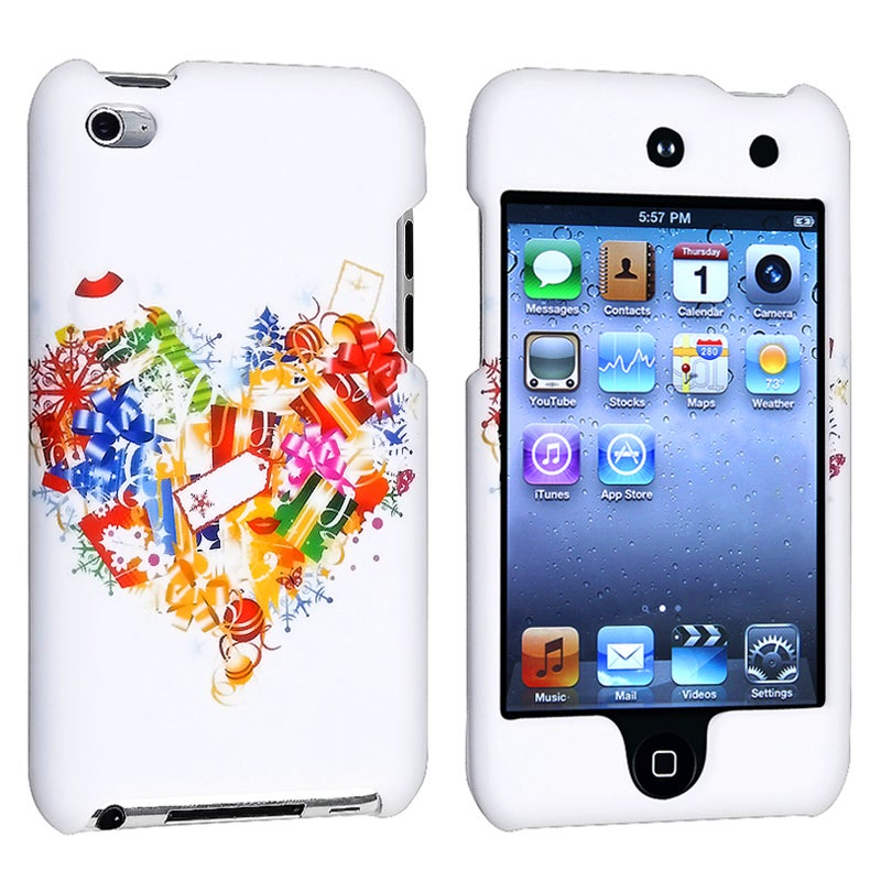 White/ Heart Gift Snap-on Rubber Case for Apple iPod Touch 4th Gen