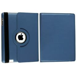 Navy-blue Synthetic-leather Protective Swivel Case for Apple iPad 2