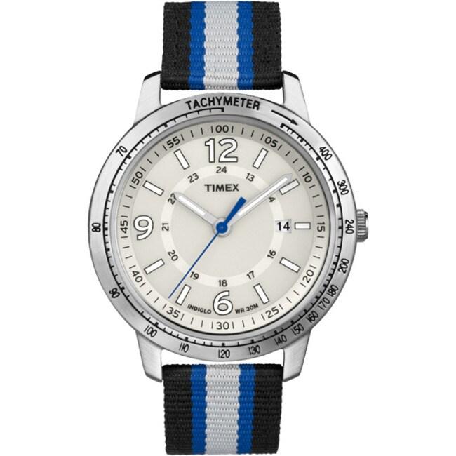 Timex T2N754KW Men's Weekender Sport Black/ Grey/ Blue Stripe Nylon Strap Watch