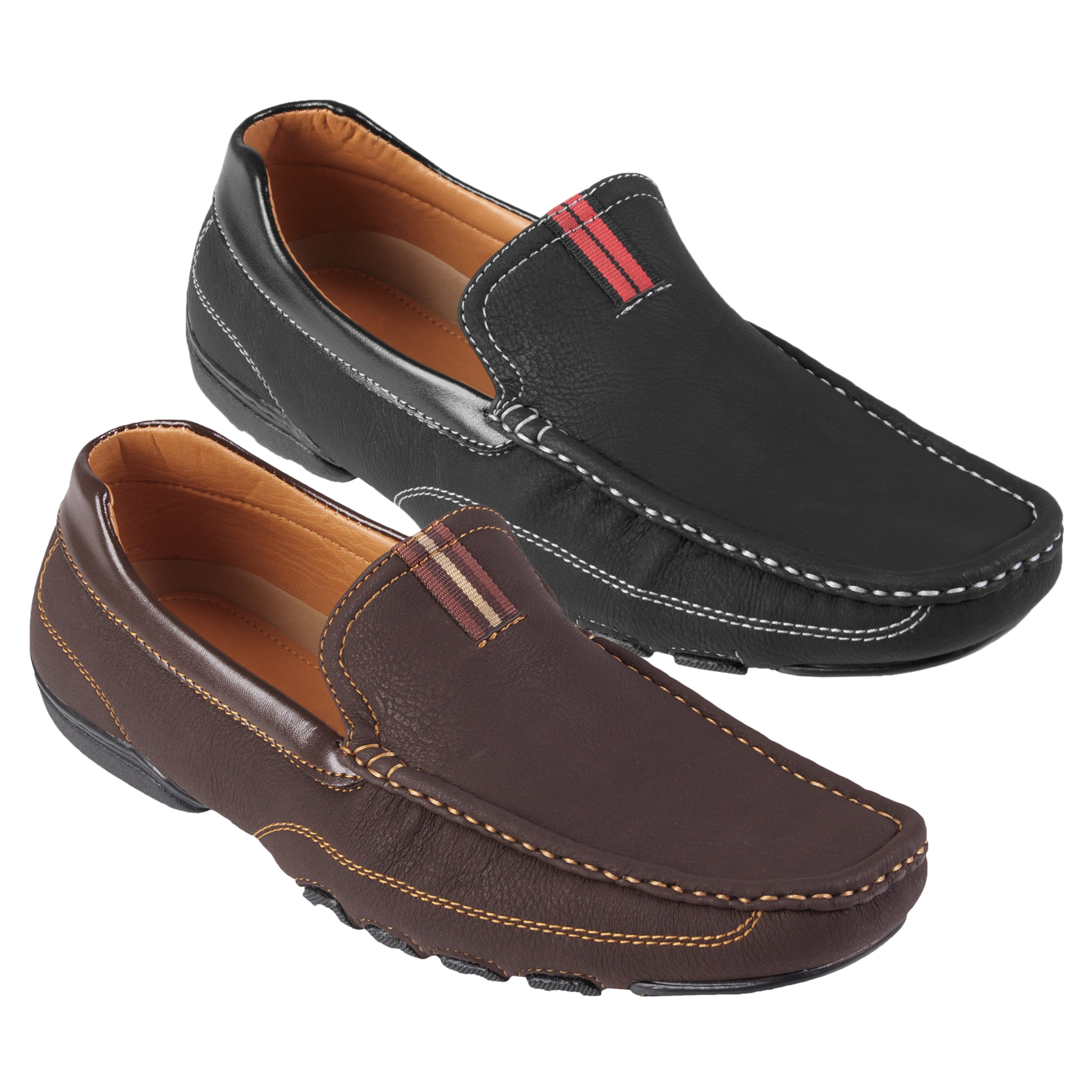 Boston Traveler Men's Topstitched Square Toe Slip-on Loafers