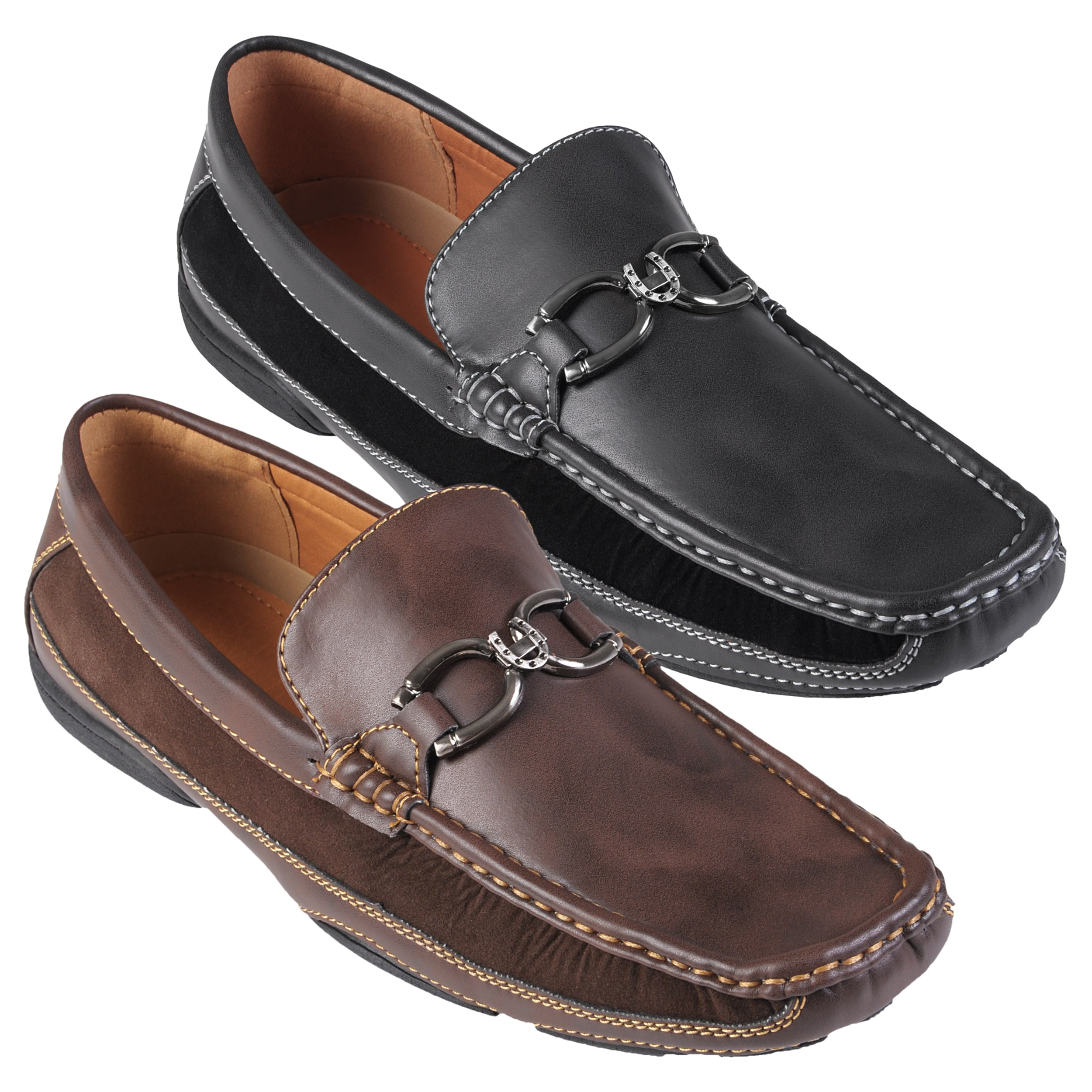 Boston Traveler Men's Topstitched Horseshoe Detail Slip-on Loafer