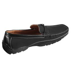 Boston Traveler Men's Topstitched Buckle Detail Square Toe Loafer