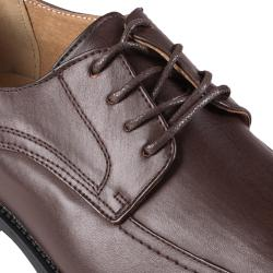 Boston Traveler Men's Topstitched Lace-Up Square Toe Leather-Lined Oxfords