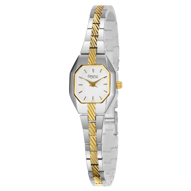 Caravelle Women's Bracelet Stainless Steel/ Yellow Gold Plated Watch