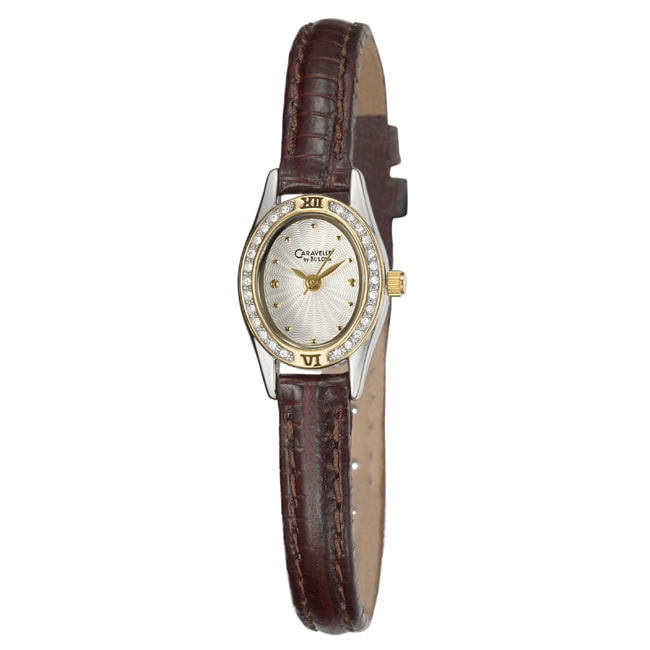 Caravelle Women's Crystal Silver Dial Leather Watch