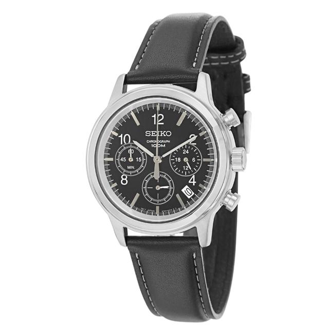 Seiko Men's Chronograph Black Dial Leather Military Time Watch
