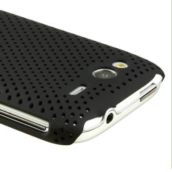Black Meshed Rear Snap-on Rubber Coated Case for HTC Wildfire S