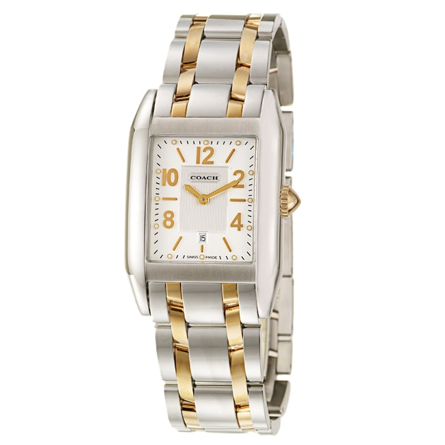 Coach Carlyle Men's Silver Dial Yellow Gold Plated Watch