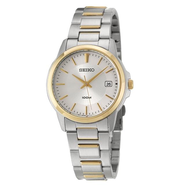 Seiko Men's Bracelet Silver Dial Yellow Gold Plated Watch