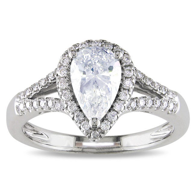 Miadora 14k White Gold 1 1/5ct TDW Certified Pear-cut Diamond Ring (D, I1)