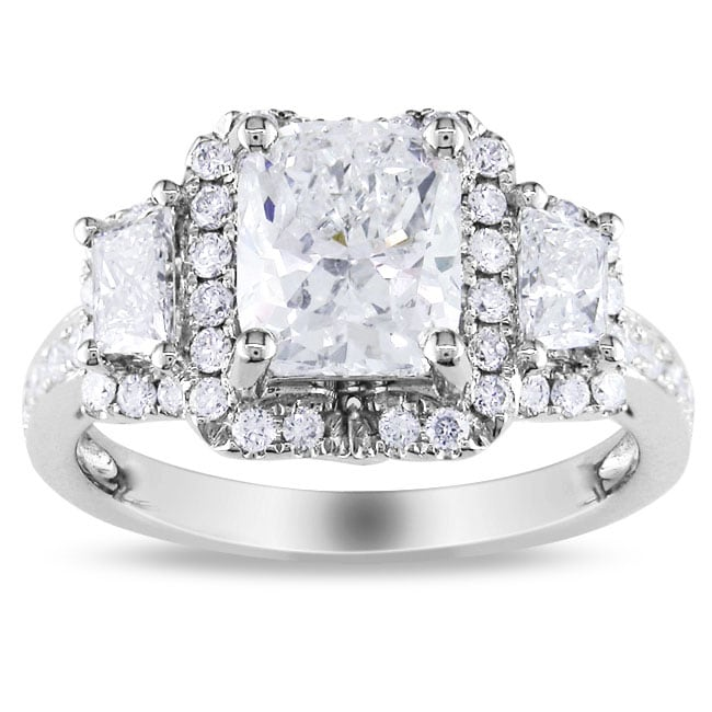 Miadora 14k White Gold 2 3/4ct TDW Cushion-cut Diamond Ring (G-H, I1-I2)