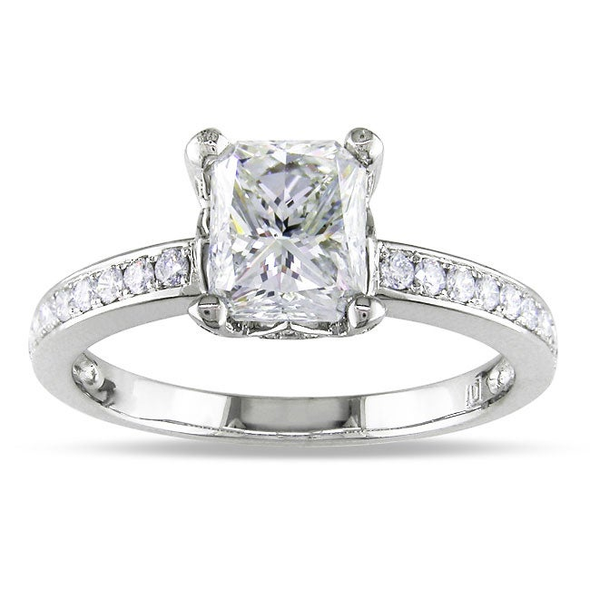 Miadora 18k White Gold 1 4/5ct TDW Certified Radiant-cut Diamond Ring