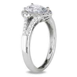 Miadora 14k White Gold 1 1/5ct TDW Certified Pear-cut Diamond Ring (D, I1) - Thumbnail 1