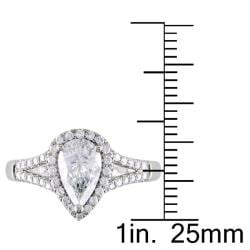 Miadora 14k White Gold 1 1/5ct TDW Certified Pear-cut Diamond Ring (D, I1) - Thumbnail 2