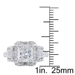 Miadora 14k White Gold 2 3/4ct TDW Cushion-cut Diamond Ring (G-H, I1-I2) - Thumbnail 2